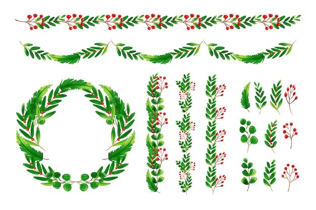 Conjunto de decorações de natal em aquarela