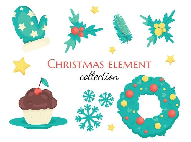 Conjunto de decorações de natal fofas