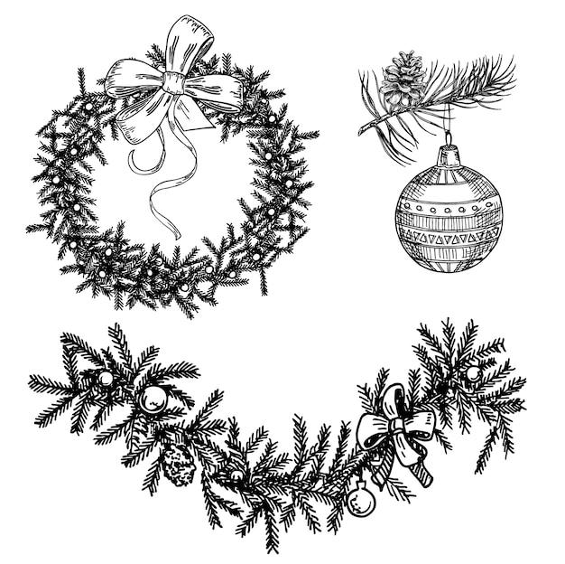 Conjunto de decorações de natal isoladas em branco