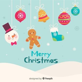 Conjunto de decorações de natal mão desenhada