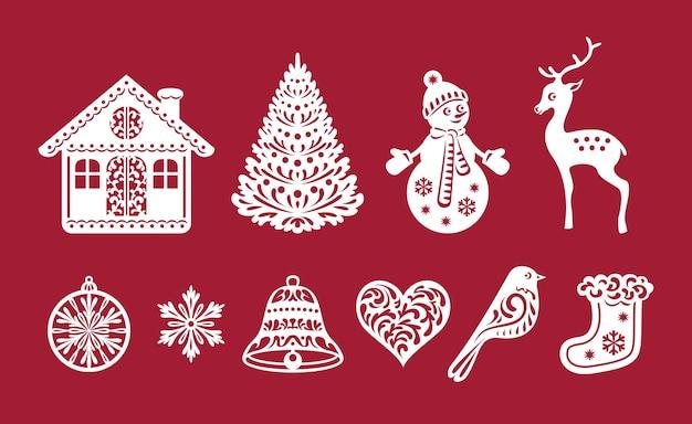 Conjunto de decorações de natal, modelos de corte a laser.