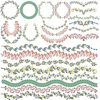 Conjunto de decorações florais coloridas vetor todas as escovas incluído