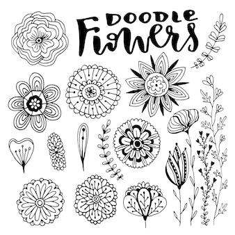 Conjunto de decorações vetoriais de flores. ilustração desenhada mão do vetor com flores doodle criativas