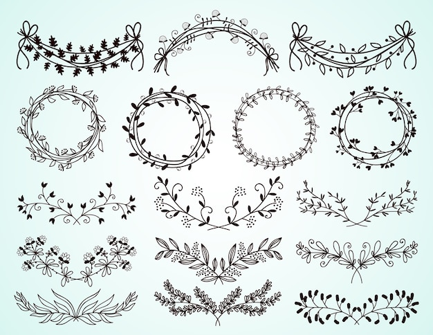 Conjunto de delicadas bordas florais e foliares em preto e branco desenhado à mão e grinaldas para elementos decorativos de design em cartões comemorativos