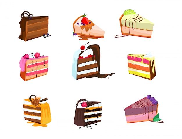 Conjunto de deliciosas fatias de bolo