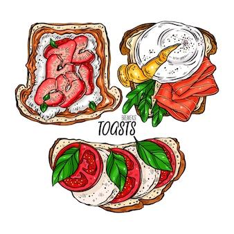 Conjunto de deliciosas torradas de café da manhã com diferentes ingredientes. ilustração desenhada à mão