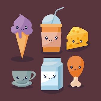 Conjunto de delicioso sorvete e comida kawaii personagem