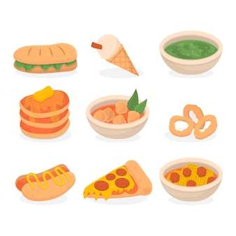Conjunto de deliciosos alimentos de conforto