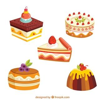 Conjunto de deliciosos bolos em estilo 2d