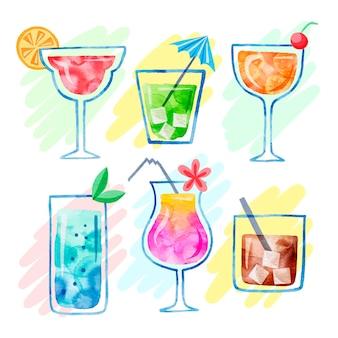 Conjunto de deliciosos cocktails em aquarela