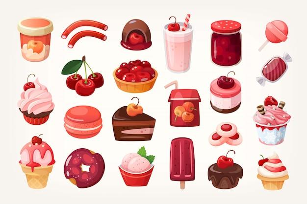 Conjunto de deliciosos doces de frutas e sobremesas