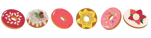 Conjunto de deliciosos donuts com diferentes coberturas, frutas, chocolate, glacê.