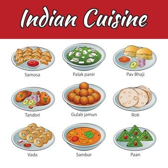 Conjunto de deliciosos e cozinha da índia