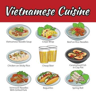 Conjunto de deliciosos e cozinha do vietnã