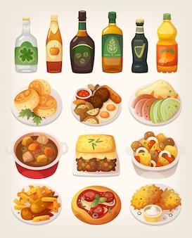 Conjunto de deliciosos pratos tradicionais coloridos da cozinha irlandesa.