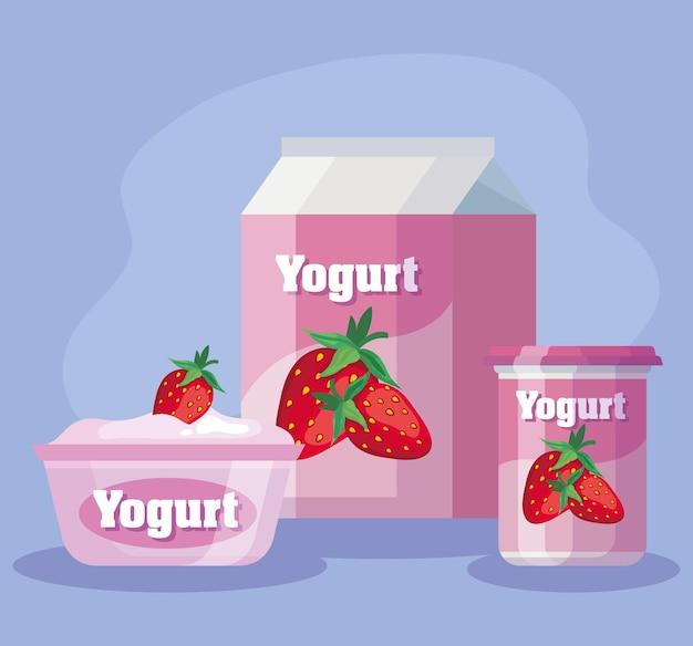 Conjunto de deliciosos produtos de morango