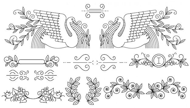 Conjunto de delimitadores de texto e linhas caligráficas ornamentais