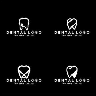Conjunto de dental premado logo monogram dentes simples