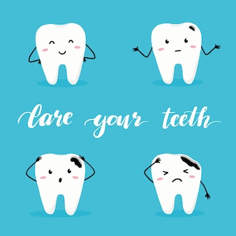 Conjunto de dente feliz e ruim com rosto