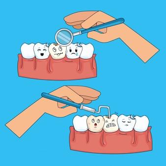Conjunto de dente medicina com espelho de boca