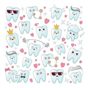 Conjunto de dente saudável kawaii com diferente emodji