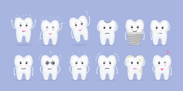Conjunto de dentes bonitos com emoções diferentes. conceito de higiene bucal e odontologia