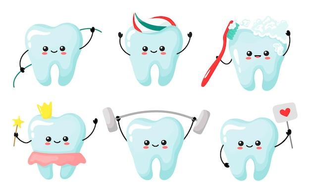 Conjunto de dentes bonitos kawaii. entalhes de cuidado. ilustração vetorial no estilo cartoon.