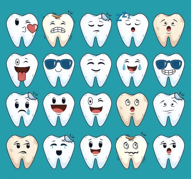 Conjunto de dentes cuidados tratamento com medicina dentária