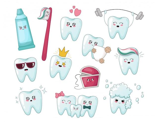 Conjunto de dentes de desenho animado kawaii saudável, pasta de dentes