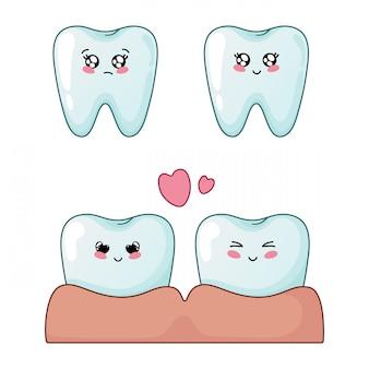 Conjunto de dentes de kawaii com emodji, personagens de desenhos animados
