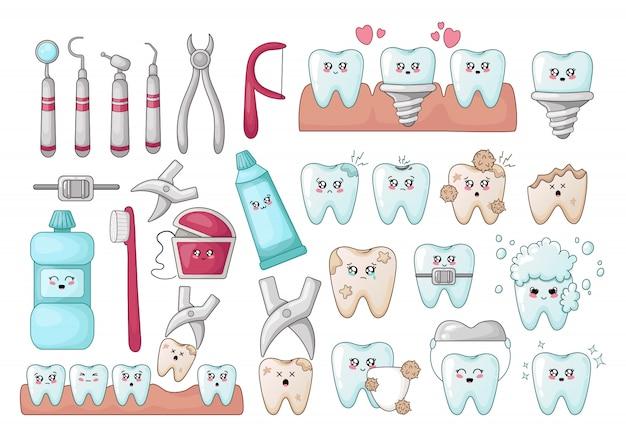 Conjunto de dentes de kawaii, ferramentas de odontologia, implantes, com diferentes emoji
