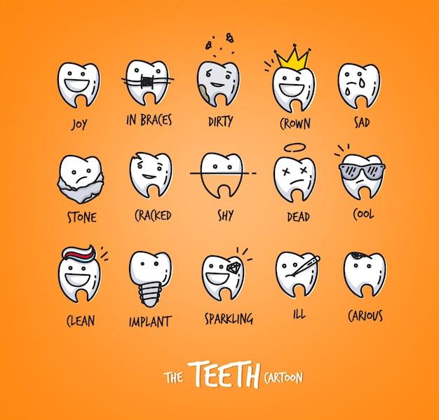 Conjunto de dentes em diferentes situações, desenho em fundo laranja.