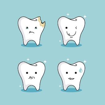 Conjunto de dentes fofos de clínica saudável