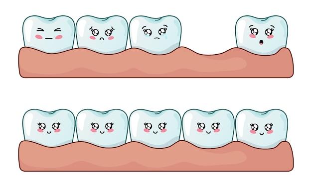 Conjunto de dentes kawaii, dentes saudáveis e problema de perda dentária