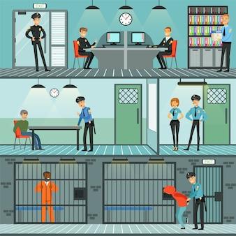 Conjunto de departamento de polícia, policiais trabalhando, investigando crimes, identificando e prendendo criminosos ilustrações horizontais