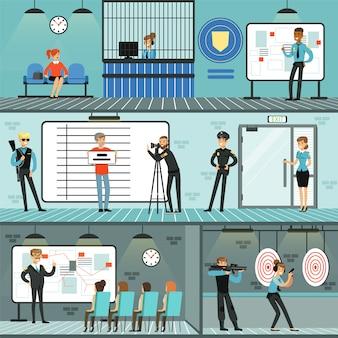 Conjunto de departamento de polícia, policiais trabalhando, investigando crimes, tendo conferência, identificando e prendendo criminosos, treinando com arma de fogo ilustrações horizontais
