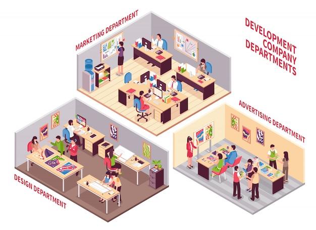 Conjunto de departamentos da empresa de desenvolvimento