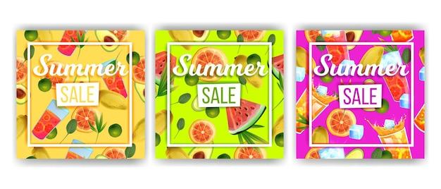 Conjunto de desconto de coleção de banner de venda de verão frutas tropicais bebidas geladas melancia
