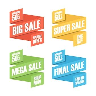 Conjunto de desconto de venda de cor e emblemas de promoção, adesivos ou etiquetas.