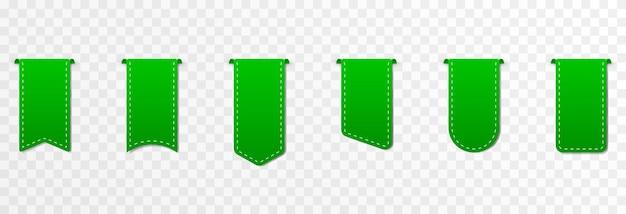 Conjunto de descontos em etiquetas de preços de fitas verdes