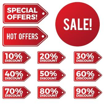 Conjunto de descontos especiais e ofertas quentes