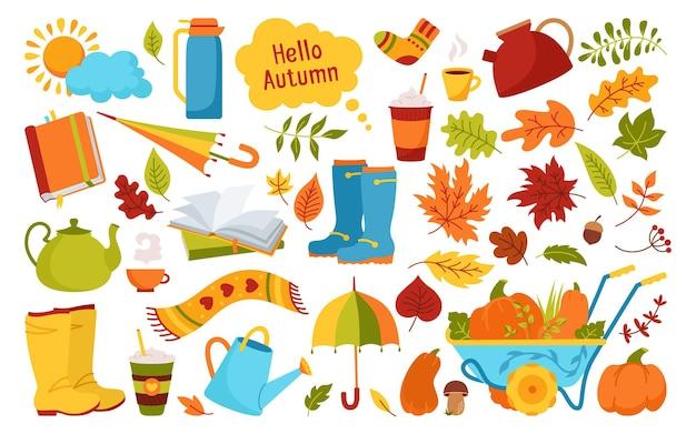 Conjunto de desenho animado da moda de outono