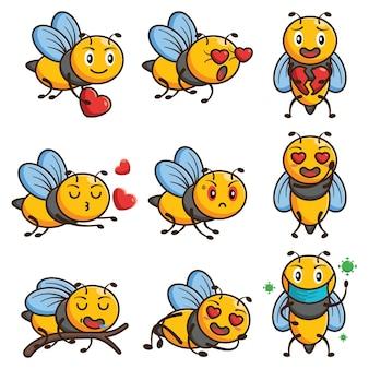Conjunto de desenho animado de abelha fofa emoji