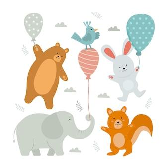 Conjunto de desenho animado de animal fofo e feliz com balão