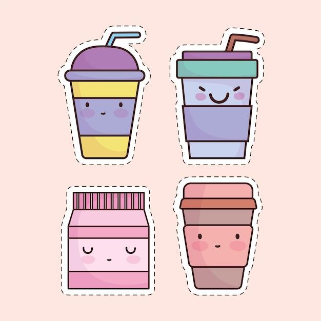 Conjunto de desenho animado de bebidas fofas e refrigerante