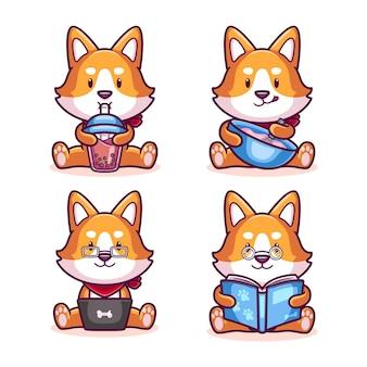 Conjunto de desenho animado de cachorro shiba inu fofo