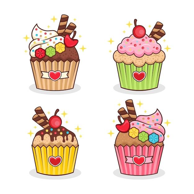 Conjunto de desenho animado de cupcake