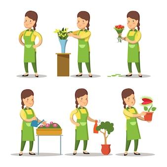 Conjunto de desenho animado de florista feminina