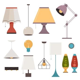 Conjunto de desenho animado de lâmpada e arandela