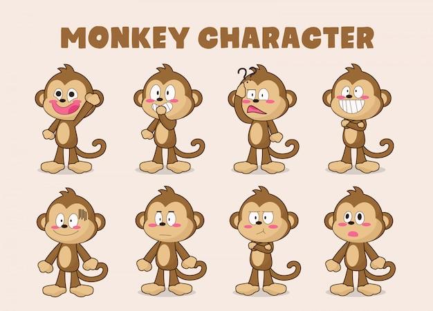 Conjunto de desenho animado de macaco